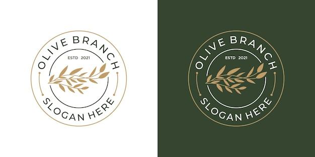 ミニマルなオリーブの枝のロゴデザイン。ヴィンテージ、レトロ、美しさのロゴが入ったエレガントな葉。