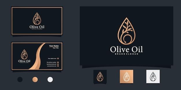 올리브 나무와 물방울 개념 및 명함 프리미엄 벡터가 있는 미니멀한 올리브 오일 로고 디자인