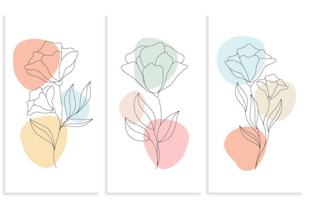 라인 아트 스타일의 미니멀 한 선 그리기 꽃 그림 프리미엄 벡터