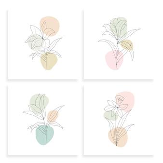 라인 아트 스타일의 미니멀 한 선 그리기 꽃 그림