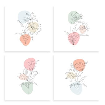 Minimalist one line drawing flower illustration in line art style