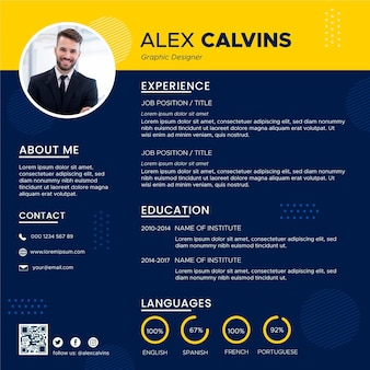 Minimalist online curriculum vitae with photo