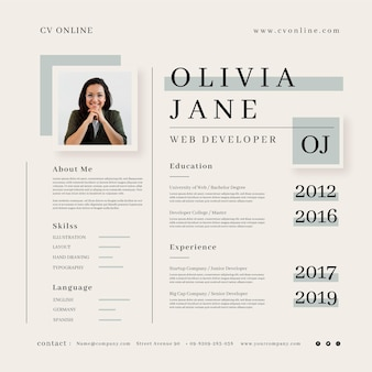 Minimalist online cv template with photo