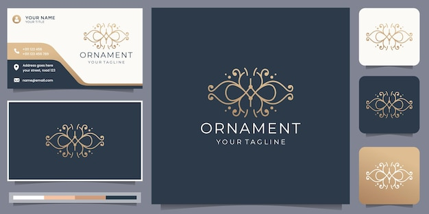 Minimalist ornament logo concept line art style and business card design layout inspiration template