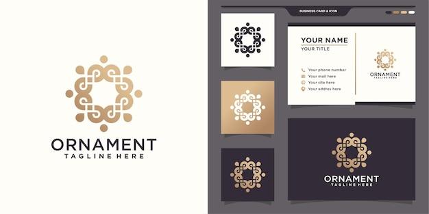 ミニマリストの飾りロゴデザインテンプレートと名刺デザイン