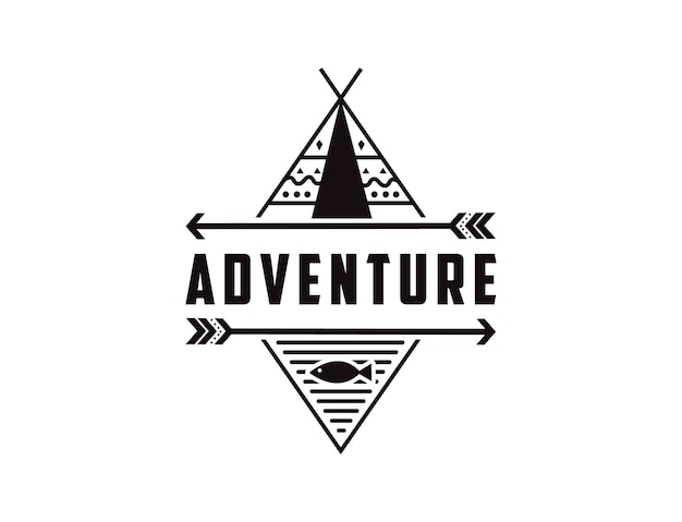 ネイティブアメリカンをテーマにしたシンプルなアウトドアアドベンチャーバッジのロゴ