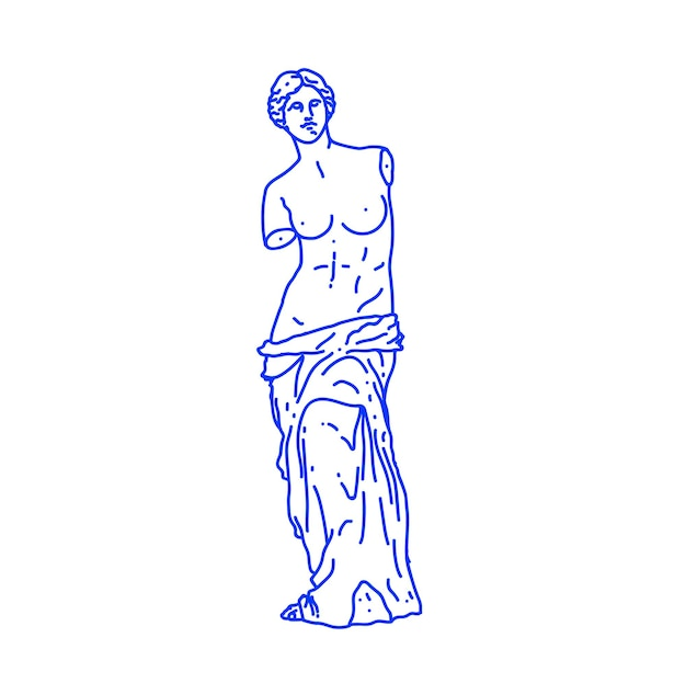 Minimalist outlined illustration of antique greek statue of woman isolated on white background