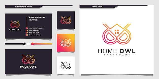 멋진 그라데이션 색상과 명함이 있는 미니멀한 올빼미 홈 로고 디자인 프리미엄 벡터