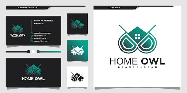 Minimalist owl home logo design with cool gradient colour and business card premium vektor