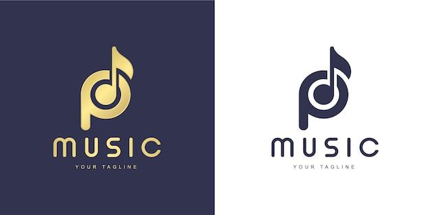 「音楽」と「歌う」のコンセプトを持つミニマリストのp文字のロゴ