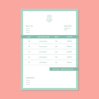 Minimalist pastel catering invoice