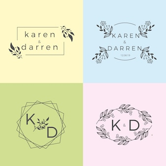 Minimalist pastel colors wedding monograms collection