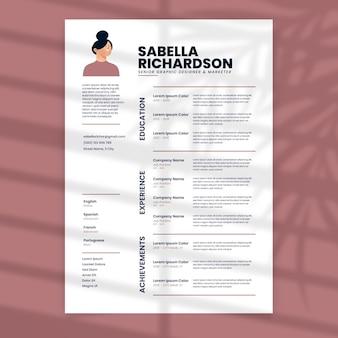 Minimalist pastel resume template