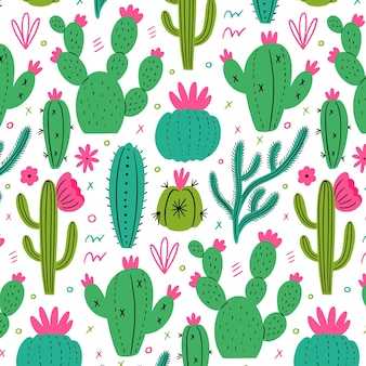 Minimalist pattern with cactus plants