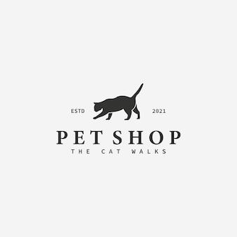 ミニマリストペットショッププッシーキャットベクトルヴィンテージロゴ、猫の店のコンセプトのデザインイラスト