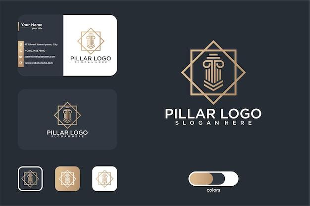 미니멀리즘 기둥 로고 디자인 및 명함