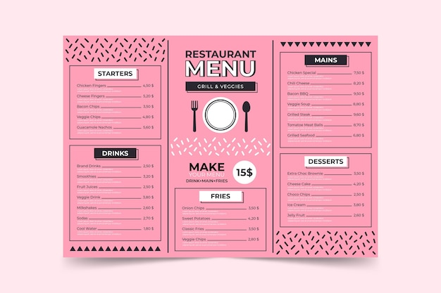 Minimalist pink menu page template