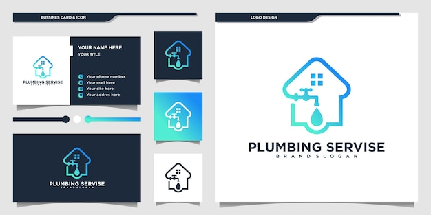 Minimalist pipe service logo with modern line art style  and business card design premium vektor