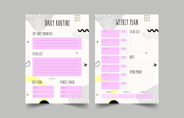 Minimalist planners. daily, weekly, monthly planner template. bullet journal.