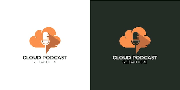 Minimalist podcast cloud logo set