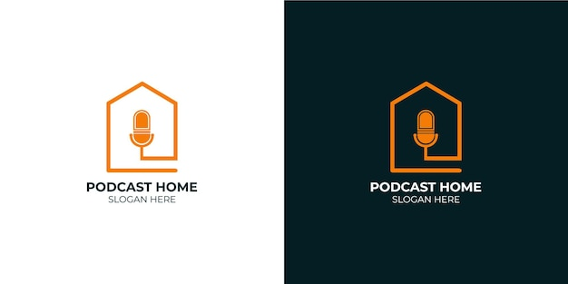 Minimalist podcast home logo set