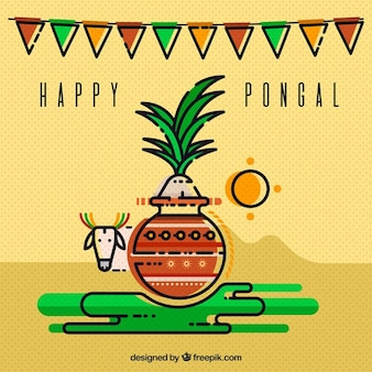 Minimalist pongal background with cow and sugarcane