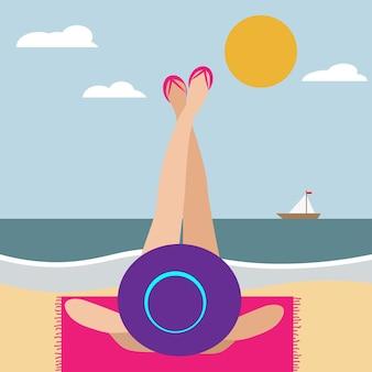 Minimalist portrait of woman at beach. summer banner. beach scene