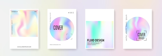 Minimalist poster set. abstract backgrounds. bright minimalist poster with gradient mesh. 90s, 80s retro style. iridescent graphic template for brochure, banner, wallpaper, mobile screen
