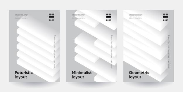 미니멀리스트 포스터 세트. 3d 효과와 현대 그라데이션 모양입니다.