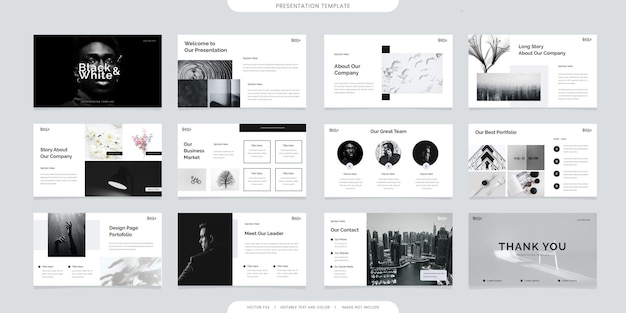 Minimalist presentation templates or corporate booklet. use in flyer and leaflet, marketing banner, advertising brochure, annual report or website slider. black and white color company profile vector