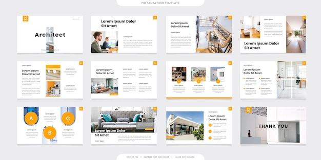 Minimalist presentation templates or corporate booklet. use in flyer and leaflet, marketing banner, advertising brochure, annual report or website slider. yellow color company profile vector