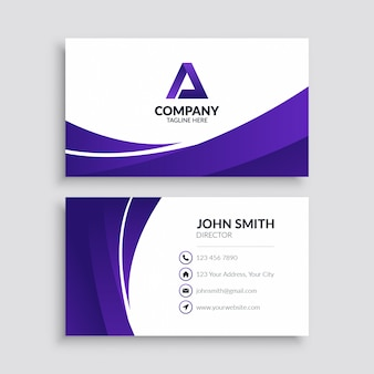 Minimalist purple wave business card template