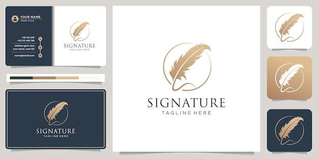 ミニマリストの羽ペンの署名手書きサークルフレームのロゴと名刺のデザイン。