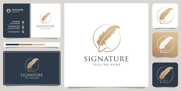 Minimalist quill feather pen signature handwriting circle frame logo and business card design.