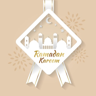Minimalist ramadan kareem greeting card in papercut style with mosque and moon decoration