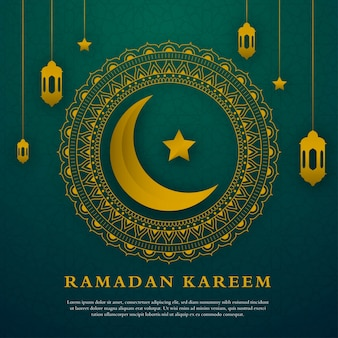 Minimalist ramadan kareem greeting card template