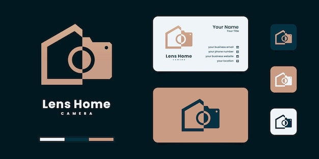 Minimalist real estate and lens photography concept circle logo design template
