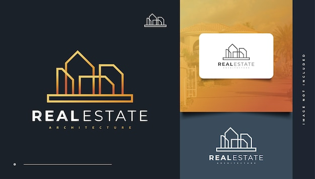 Minimalist real estate logo design with line style. construction, architecture or building logo