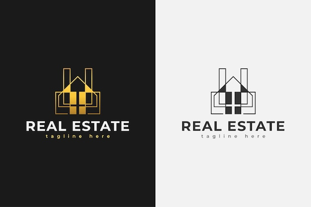 ラインスタイルのゴールドグラデーションのミニマリストの不動産ロゴ。建設、建築または建物のロゴデザインテンプレート