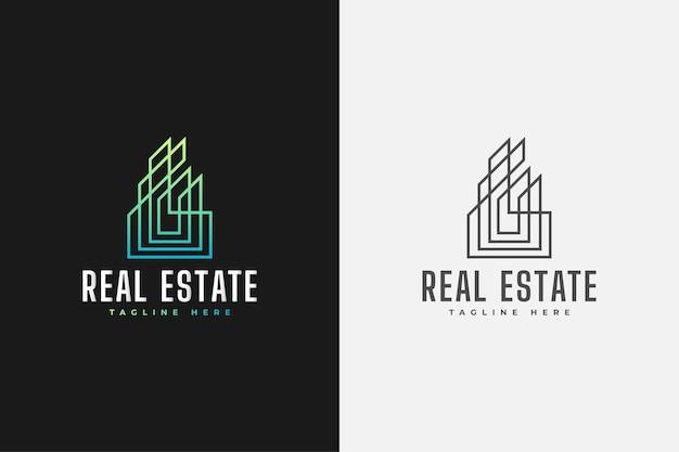 ラインスタイルの緑のグラデーションでミニマリストの不動産のロゴ。建設、建築または建物のロゴデザインテンプレート