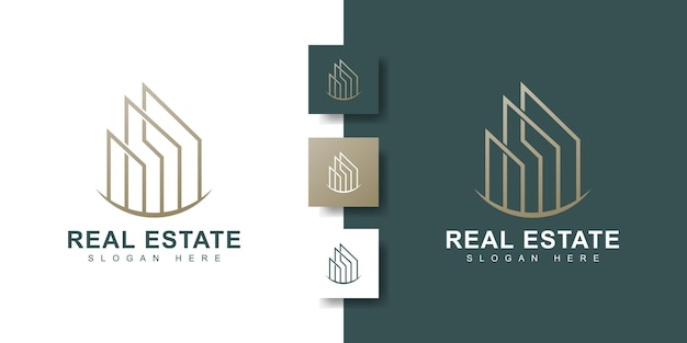 Minimalist real estate logo with modern creative concept