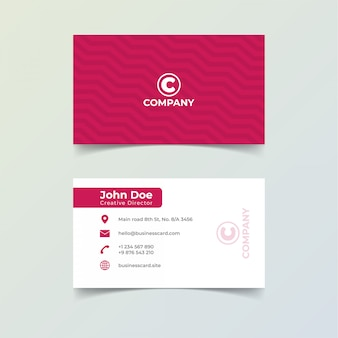 Minimalist red color business card print template.