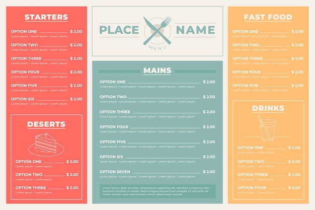Minimalist restaurant menu in horizontal format for digital platform