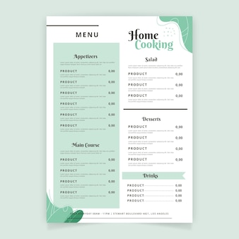 Minimalist restaurant menu templat