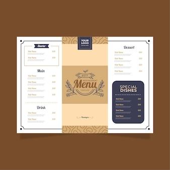 Минималистичный шаблон меню ресторана в горизонтальном формате для цифровой платформы Бесплатные векторы