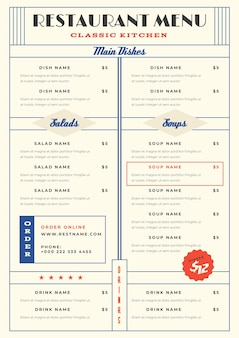 Minimalist restaurant menu template in vertical format