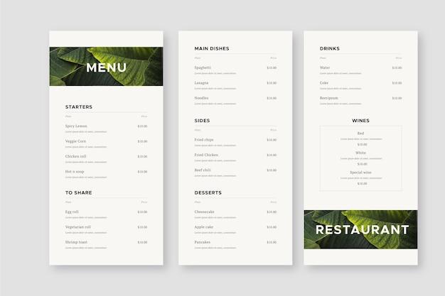 Минималистский шаблон меню ресторана
