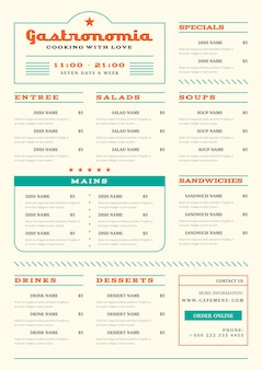 Minimalist restaurant menu in vertical format