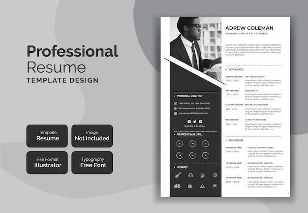 Minimalist resume curriculum template design
