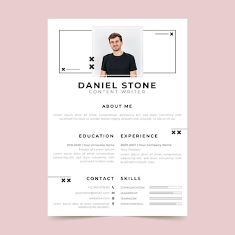 Minimalist resume template with photo